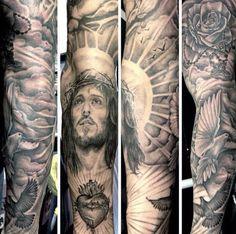 Top 103 Rosary Tattoo Ideas [2020 Inspiration Guide] Black Sleeve Tattoo, Full Sleeve Tattoo Design, Best Sleeve Tattoos, Tattoo Sleeves, Gebets Tattoo, Key Tattoos, Mandala Tattoo, Garter Tattoos, Crown Tattoos