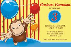 Cool FREE Template Curious George Personalized Birthday Invitations