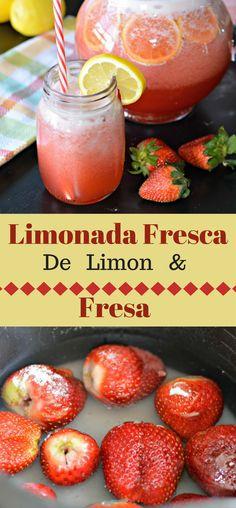 Esta Limonada Fresca de Limon y Fresa es deliciosa y perfecta para los dias del calor. Aprende como hacerla hoy!
