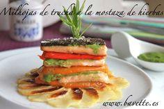 Milhojas de trucha a la mostaza de hierbas Weird Food, Le Chef, Strudel, Recipe For 4, Trout, Fish Recipes, Tuna, Sushi, Mustard