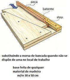 Morsa sem bancada:        apoia a ferramenta na bancada, pode ser uma plaina, uma lixadeira, etc.