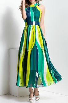 BORME Chiffon Color Block Maxi Dress $ 75.99