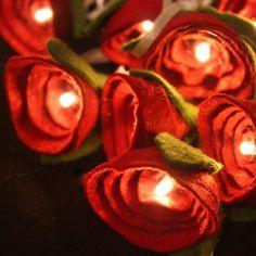 Red Felt Rose Fairy Lights #lights #roses #handmade £15