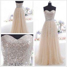 2014 sequin long prom dress formal custom prom dress cheap t... - Polyvore