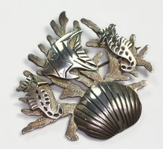 Sterling Taxco Brooch Shell Angel Fish Under the by PastSplendors