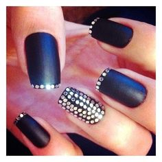 Matte black, silver sequins, and accent nail. Love it all!