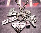 Baseball All star charm holder Pendant necklace