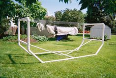 Need to build a clothes line, but can't mount into the ground? Try building a clothesline from PVC like these ladies did.