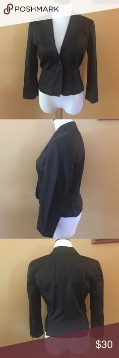 Bebe blazer Black, Bebe blazer in great condition. States 8, but fits more like a 4-6 (small). One button enclosure and 3 pockets. Material cotton and spandex. Length 17 inches. bebe Jackets & Coats Blazers