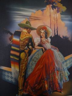 Mexican poster art - beautiful worklove, love it. Mexican Artwork, Mexican Paintings, Mexican Folk Art, Vintage Design, Vintage Art, Jesus Helguera, Jorge Gonzalez, Hispanic Art, Latino Art