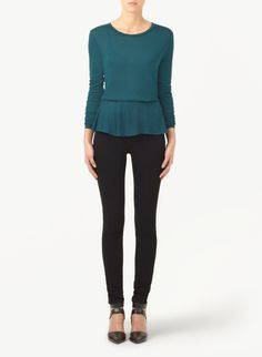 WILFRED GALLIENI T-SHIRT - A subtle peplum silhouette in luxe jersey