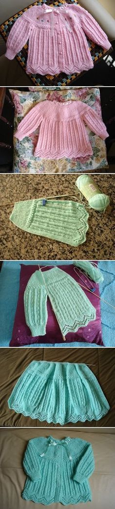 Baby jacket from an ancient pattern (Note this is a more elaborate ancestor of the plain garter Princess Charlotte sweater): FREE PATTERN; short rows, sideways, eyelet cable on yoke, lace hem ~~ Casaquinho de bebê, receita de um modelo antigo: Oficina da regina by Regina Arato. ~~ Written pattern in Portuguese. Explications en portugais.