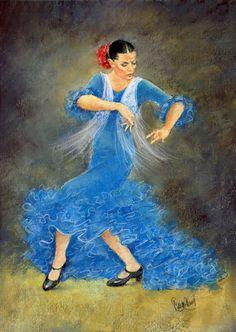 Flamenco dancer in Blue by Margaret Merry