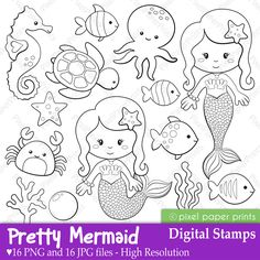 Pretty Mermaid Digital Stamps - are great for sea themed craft and creative projects.
