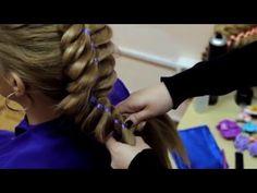 Четырехпрядная коса с лентой. - YouTube