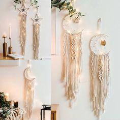 Macrame Boho Wall Hangings Tapestry Woven Rope Moon Star Dream Catcher Art Decor