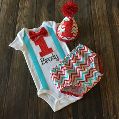 Red and Aqua Chevron First Birthday Boy Cake Smash Outfit - Personalized Bodysuit, Diaper Cover, Party Hat -Cat in the Hat, Circus, Carnival by Polkadotologie on Etsy https://www.etsy.com/listing/260318993/red-and-aqua-chevron-first-birthday-boy