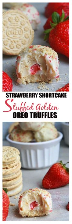Strawberry Shortcake Stuffed Golden Oreo truffles - Made with Golden Oreo cookies and cream cheese. The perfect easy way to enjoy the classic dessert with a fresh strawberry filling. Candy Recipes, Sweet Recipes, Holiday Recipes, Köstliche Desserts, Dessert Recipes, Yummy Treats, Sweet Treats, Strawberry Shortcake Recipes, Strawberry Filling