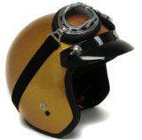 Metalflake Gold Motorcycle Open Face Helmet Cafe Racer Vintage  Goggles (Medium) - http://vintagemotorcyclehelmets.net/metalflake-gold-motorcycle-open-face-helmet-cafe-racer-vintage-goggles-medium/