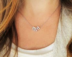 Lowercase Initials Necklace Rose Gold Gold or Silver by TomDesign