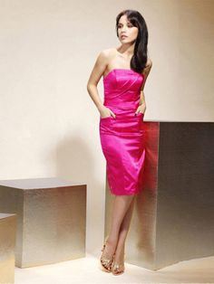 Sheath/Column Strapless Satin Knee-length Sleeveless Pleats Prom Dresses at Msdressy.com