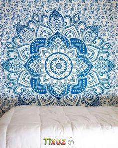 Mandala de tela hindu. mural, tapiz cubre cama