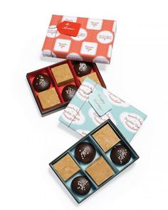 Penuche Fudge and Chocolate-Dipped Caramallows Packaging