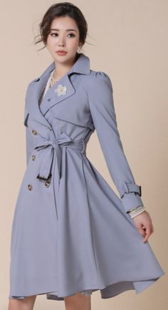 StyleOnme_Premium Classic Long Trench Coat #blue #chic #classy #trenchcoat #koreanfashion #kstyle #kfashion #springtrend #seoul #dailylook