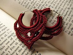 Crocheted hoop earrings by CamilleMarie on Etsy.  These are beautiful!