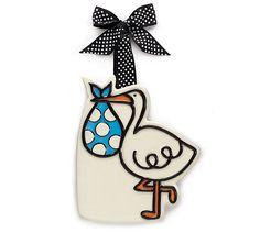 Stork Ceramic Hanging Tag Ornaments