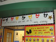 Disney themed classroom welcome bulletin board! Disney themed classroom welcome bulletin board! Related posts: Disney Themed Cakes – Disney Princess cake and cupcakes Mickey Mouse Classroom, Disney Classroom, Classroom Board, Classroom Displays, Classroom Themes, Future Classroom, Classroom Design, School Displays, Classroom Organization