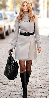 H&M; - Grey Coat & Cute Tights with boots.