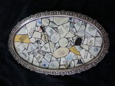 silver tray by anat simons Mosaic Tray, Silver Trays, Mosaic Designs, Breitling, Porcelain, My Arts, Accessories, Silver Platters, Porcelain Ceramics