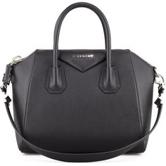 Givenchy Antigona Small Sugar Goatskin Satchel Bag ($2,410) ❤ liked on Polyvore featuring bags, handbags, purses, black, black satchel, cell phone purse, satchel purse, cellphone purse and black purse