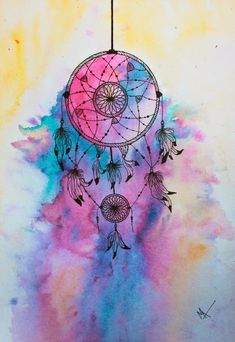 Colourful, dream, and dreamcatcher image dream catcher wallpaper iphone, iphone wallpaper dreamcatcher, Dream Catcher Painting, Dream Catcher Drawing, Dream Catcher Watercolor, Dream Catcher Canvas, Dream Catcher Quotes, Dreamcatcher Wallpaper, Watercolor Dreamcatcher, Watercolor Images, Watercolor Tattoo