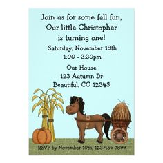 Autumn 1st Birthday Party Invitation