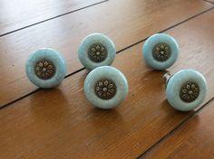 Blue Ceramic Crackle Knob with Flower Center/Vintage Inspired Pull/Knob/Dresser Knob/Drawer Pull