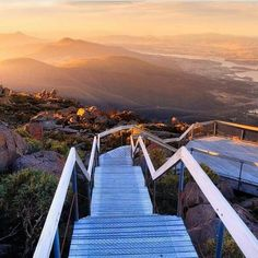 Step on down these stairs at the top of Mount Wellington to experience some incredible views! Brisbane, Melbourne, Perth, Tasmania Road Trip, Tasmania Travel, Oh The Places You'll Go, Places To Visit, Travel Around The World, Around The Worlds