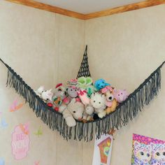"""Items similar to Set of TWO MINI """"Lovey Corral"""" Toy Hammock in Your Choice of Colors - Toy Net- Stuffed Animal Organizer - Made to Order on Etsy Stuffed Animal Net, Stuffed Animal Hammock, Large Stuffed Animals, Stuffed Animal Storage, Stuffed Toy, Creative Toy Storage, Art Storage, Storage Ideas, Pet Organization"""