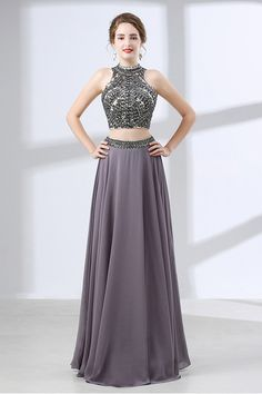 Only $139, Evening Dresses Two Piece Vintage Grey Formal Dress Long With Crystal Halter Top #CH6645 at #GemGrace. View more special Special Occasion Dresses,Prom Dresses,Evening Dresses now? GemGrace is a solution for those who want to buy delicate gowns with affordable prices, a solution for those who have unique ideas about their gowns. 2018 new arrivals, shop now to get $10 off!