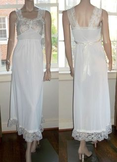 American Maid Size 9 Wide Lace Straps Ruffled Hem Long Nightgown Negligee #AmericanMaid #Gowns
