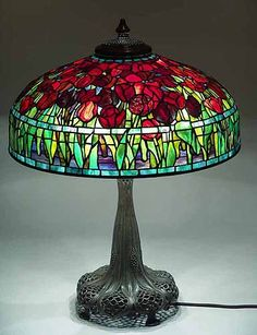 """22"""" Tulip leaded Glass and Bronze Lamp, Design of Tiffany Studios New York modern reproduction Germany"""