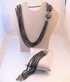 JUDY LEE Multi Chain Necklace & Bracelet by BrightEyesTreasures, $55.00