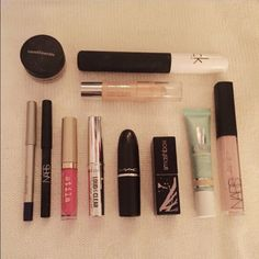 High End Makeup Bundle High end makeup bundle retailing at $176. All products have either only been swatched or have only been used a few times. Comes with a Nars and Laura Mercier eyeliner, a Calvin Klein mascara, a Clinique eye shadow stick and concealer, a Bare Minerals eye shadow and lipstick, Mac and Smashbox lipsticks, a Stila liquid lipstick, and a Nars lip gloss. Message me if you have any questions about individual shades or items. Free shipping! Various Makeup