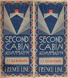 "SHIPPING - Second Cabin Accommodation, S.S. Ile de France, French Line,"" 1934"