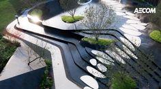 成都融创文旅城·生活体验馆 | AECOM - 景观网 Landscape Stairs, Landscape And Urbanism, Landscape Architecture Design, Green Architecture, Landscape Plans, Urban Landscape, Modern Landscaping, Water Features, Exterior Design