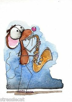 ACEO Original Watercolor Folk Art Whimsical Painting Mouse Music Saxophone | eBay