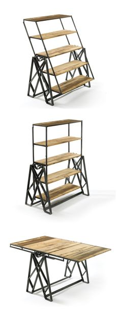 In a piece of fascinating product design, this set of reclaimed wooden shelves can be converted into a table. The only problem - what's the point of shelves that have to be cleared before each table use? Cool Furniture, Furniture Design, Flexible Furniture, Wicker Furniture, Antique Furniture, Painted Furniture, Furniture Ideas, Deco Originale, Wood Projects