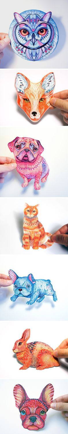 Hand-Drawn Animal Stickers by Ola Liola #drawing #animals #stickers