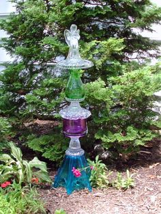 Garden Angel, Garden Art, Garden Totem, Suncatcher. Contemporary Angel.